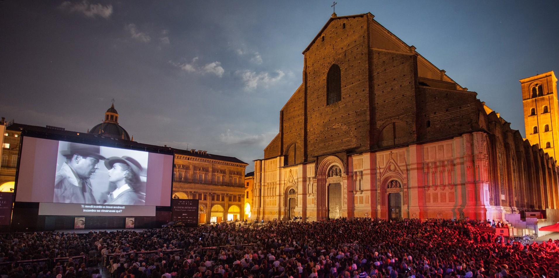 Piazza Maggiore during the Cinema Ritrovato Film Festival