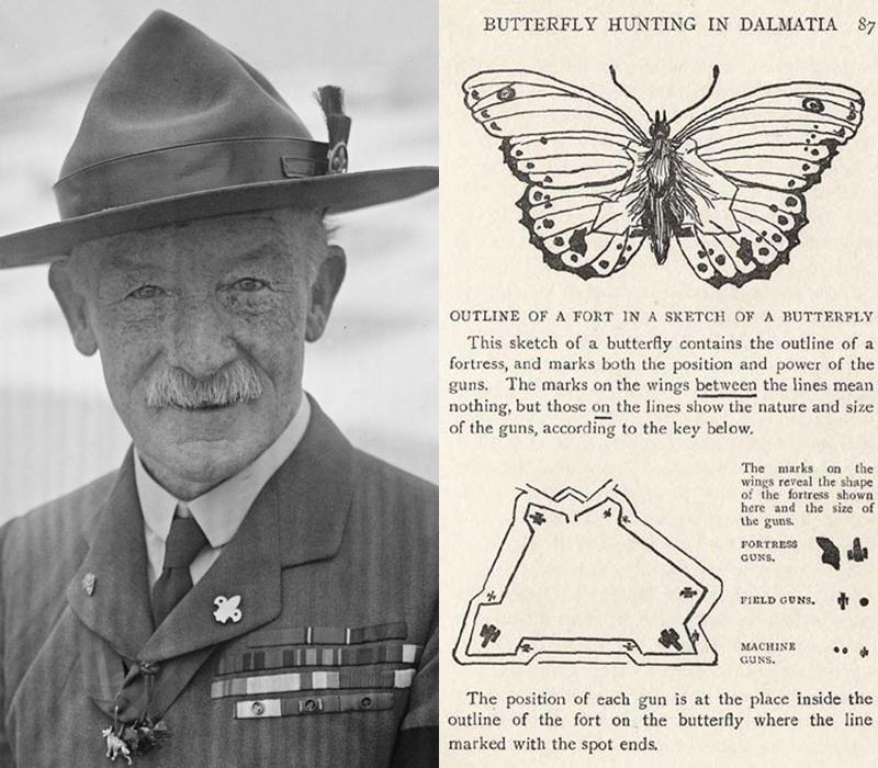 """Robert Baden-Powell e il disegno di una delle sue farfalle tratte dal libro  """"My Adventures as a Spy""""  (1915)."""