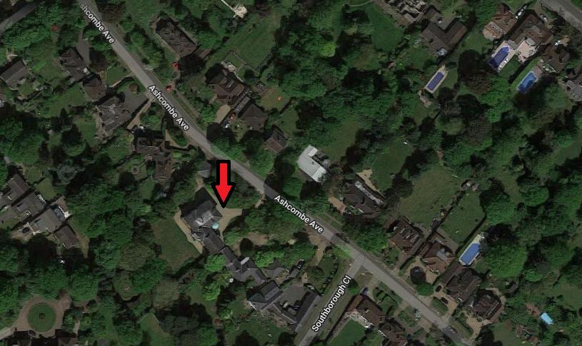 La casa privata usata come set per Garden Lodge, 14 Ashcombe Ave, Surbiton, Londra.