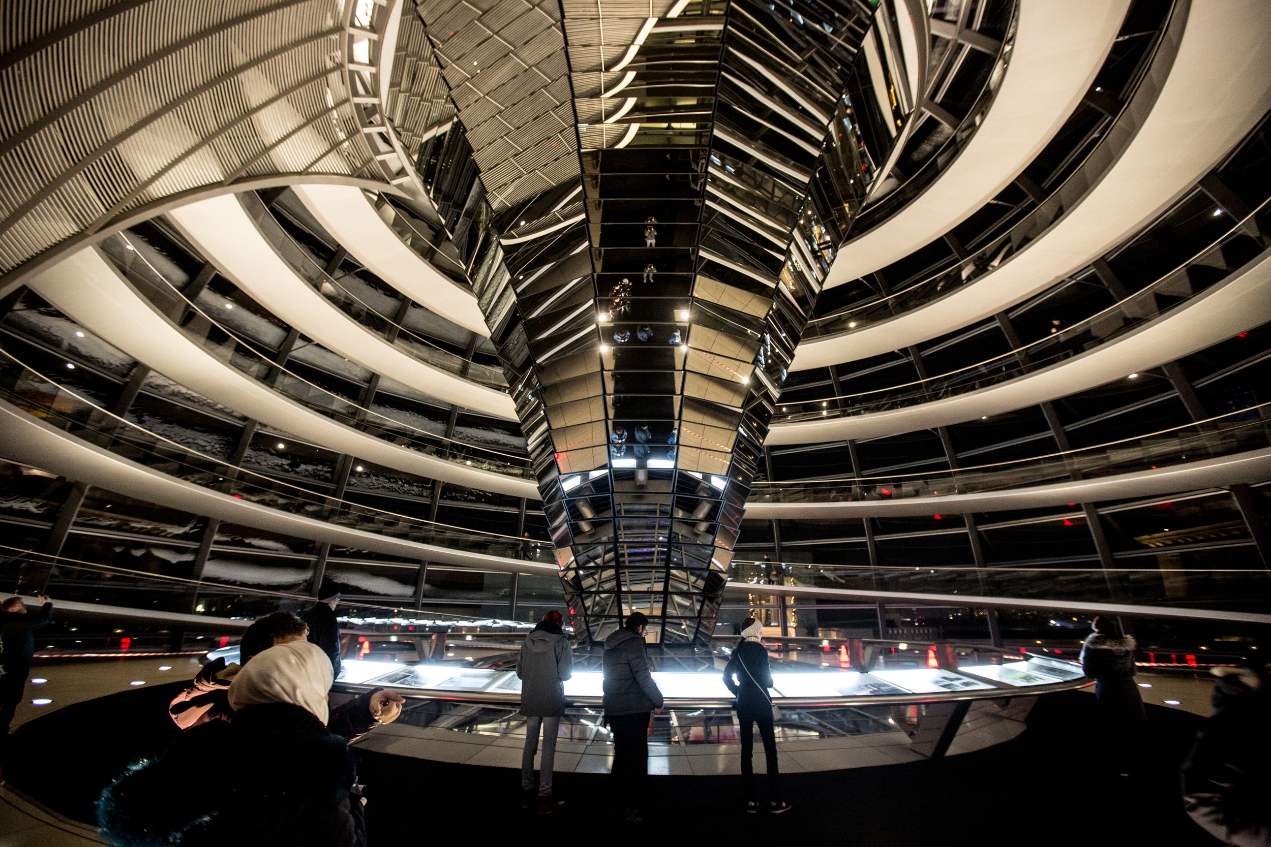 The interior of the glass dome which sits atop the Reichstag