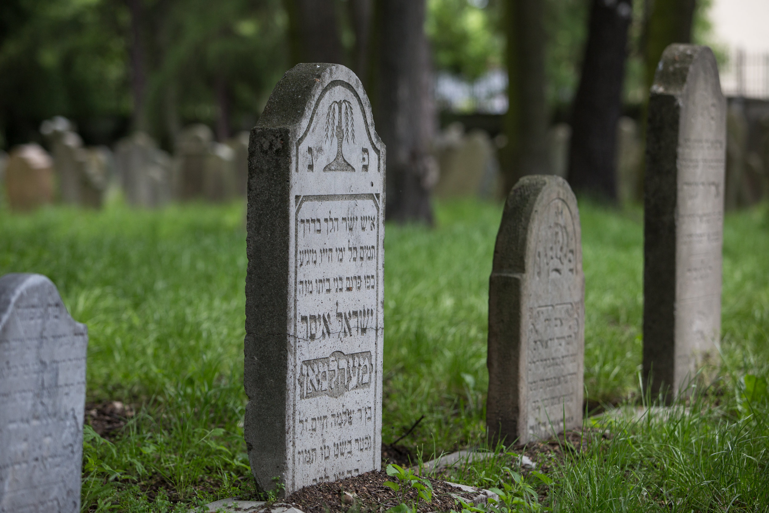 A tombstone is seen at the Jewish cemetery on May 27, 2019 in Oswiecim, Poland. (Photo by Elan Kawesch/TRTN)
