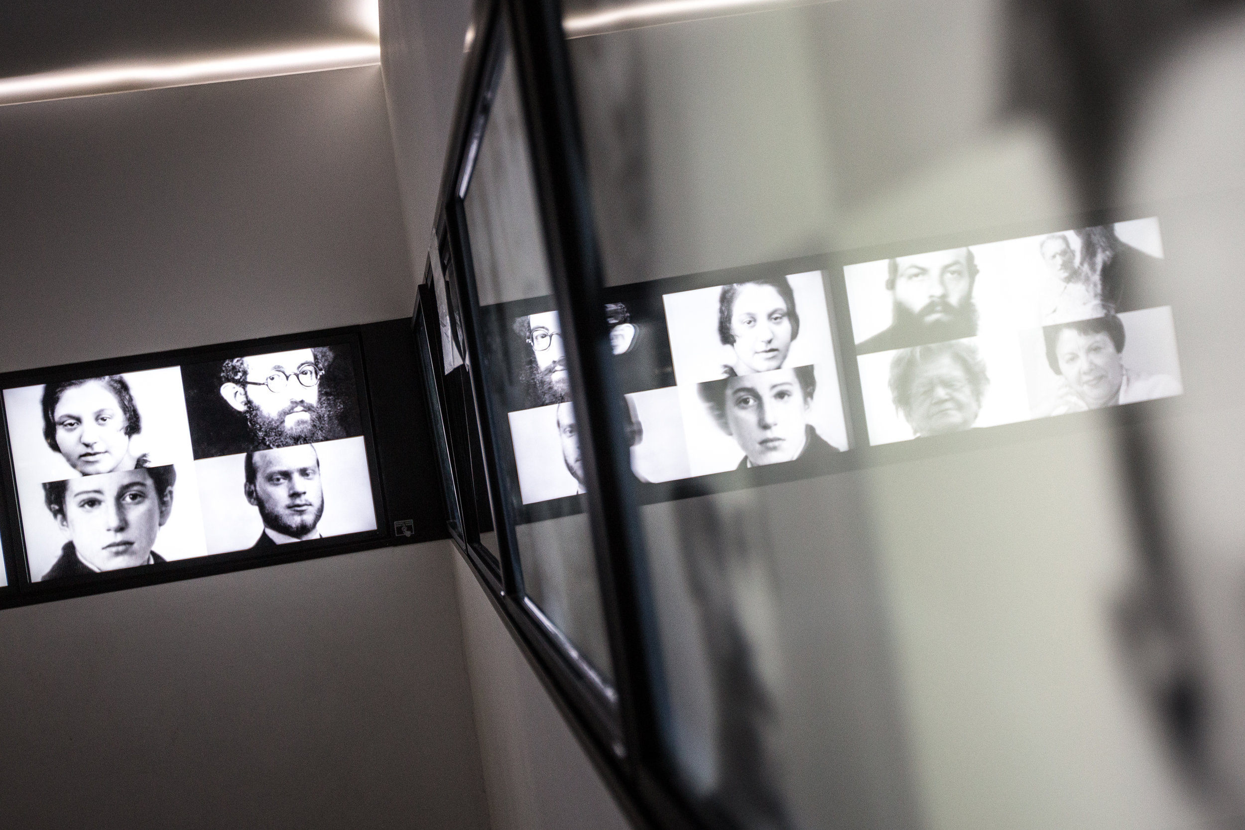 Photographs of Jews who lived in Oswiecim are seen in the local Jewish Museum on May 27, 2019 in Oswiecim, Poland. (Photo by Elan Kawesch/TRTN)