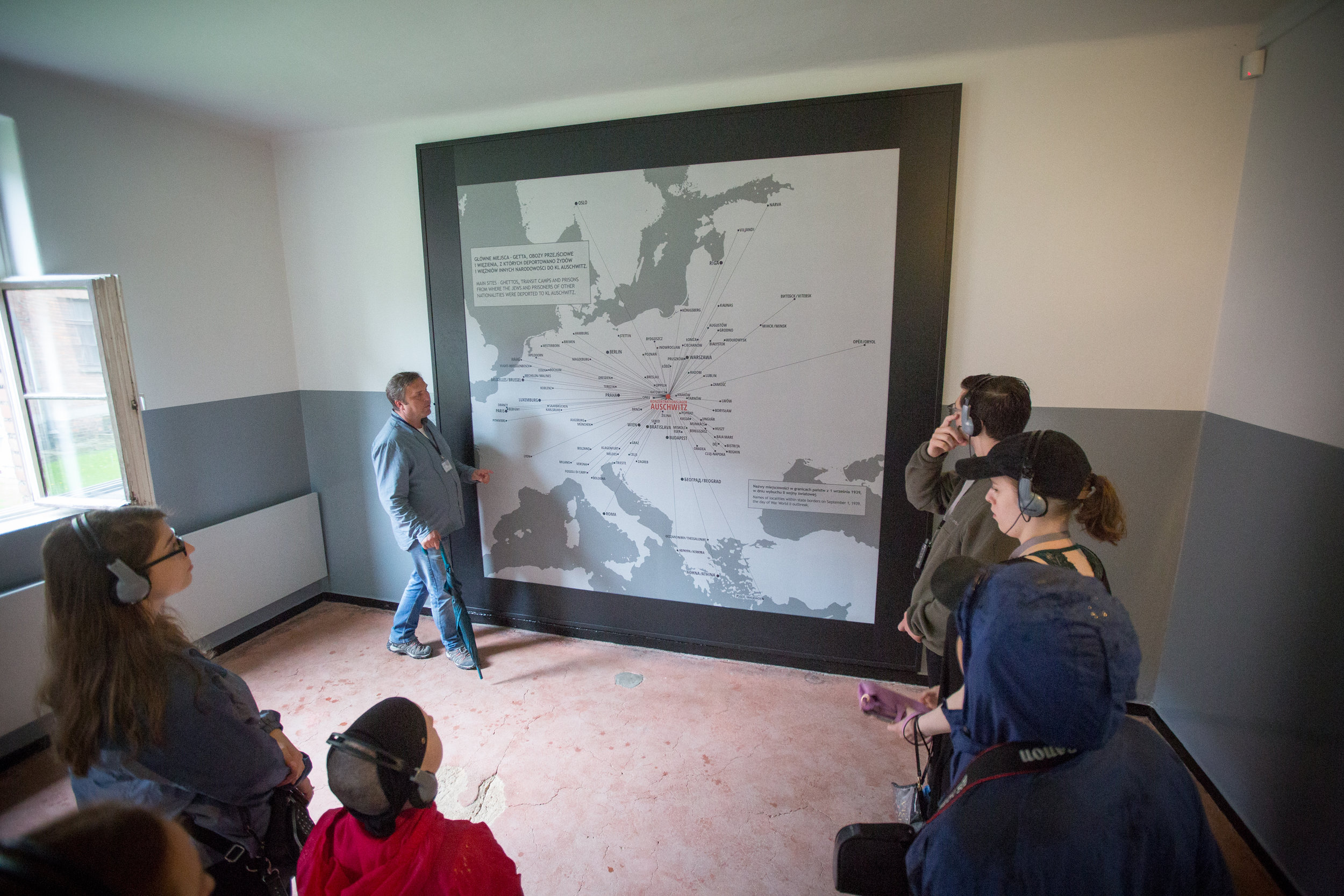 Students tour Auschwitz I on May 28, 2019.