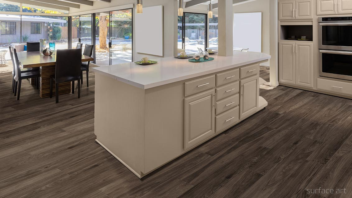 wood look alike porcelain tile room scene