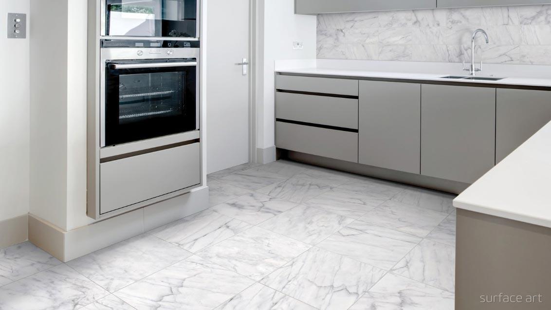 Marble look alike tile room scene