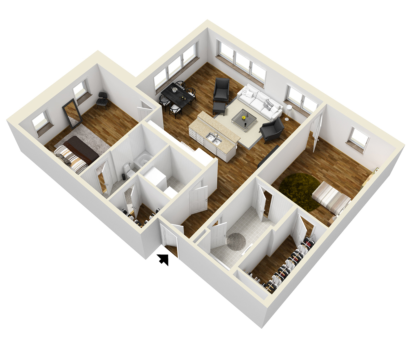 Typical two bedroom layout