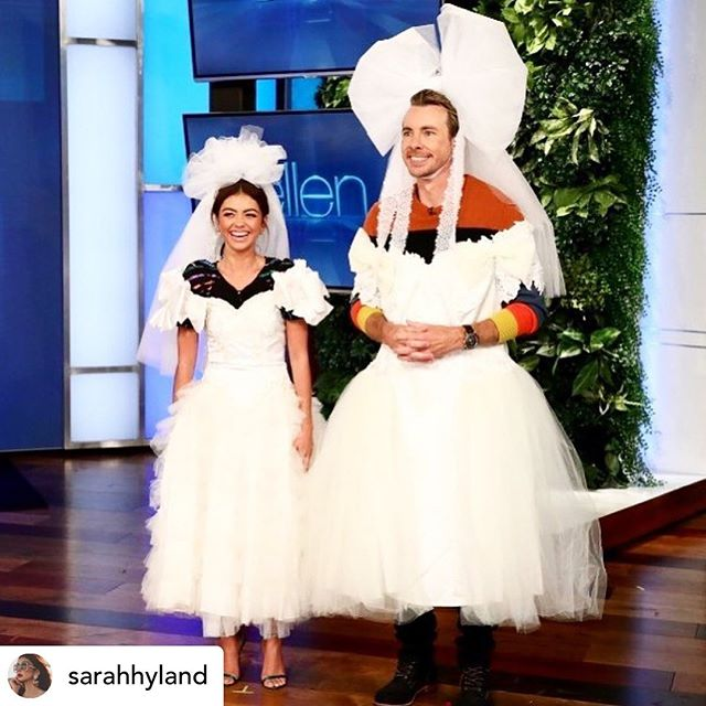 Repost • @sarahhyland Catch me on @theellenshow today!! @daxshepard and I talk about weed, love, and weddings! This is us as brides and I think I found my wedding dress 💁🏻♀️ @theweddingyear @abcmodernfam