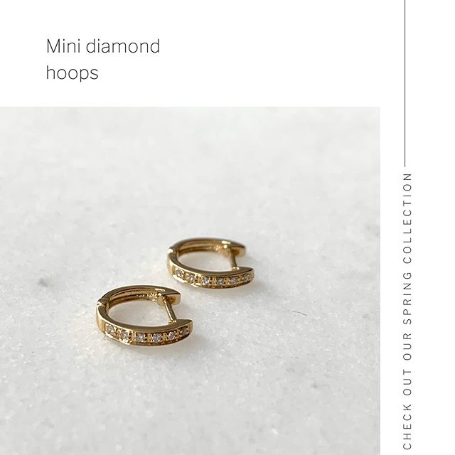 Mini Diamond Hoops in Yellow Gold, Rose Gold or White Gold.