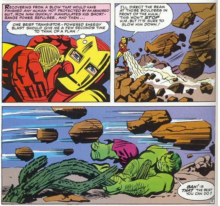 Iron Man uses silver age science gadgets and the hulk grabs a cactus.