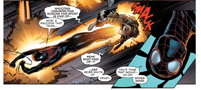 Thankfully miles morales spider-man shows up to save this thing.