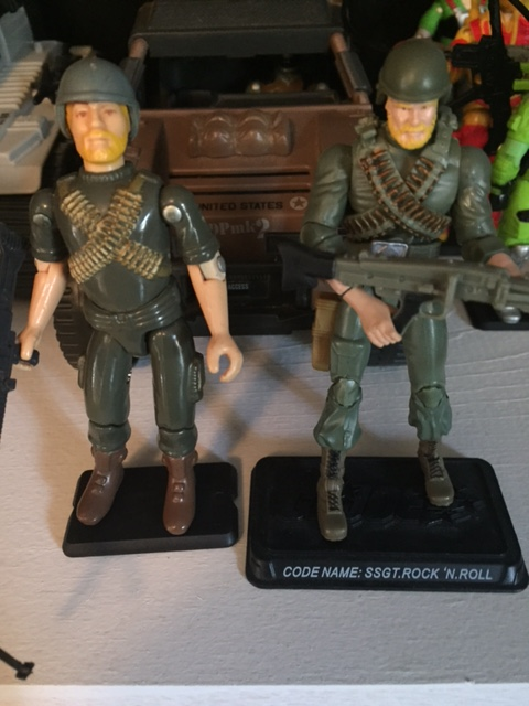 Here he is with the 25th anniversary update renamed SSGT. Rock 'N Roll.  This is one of my least favorite 25th anniversary G.I. Joe figures as his arms and hands are very awkward and it remains difficult to pose his gun correctly.