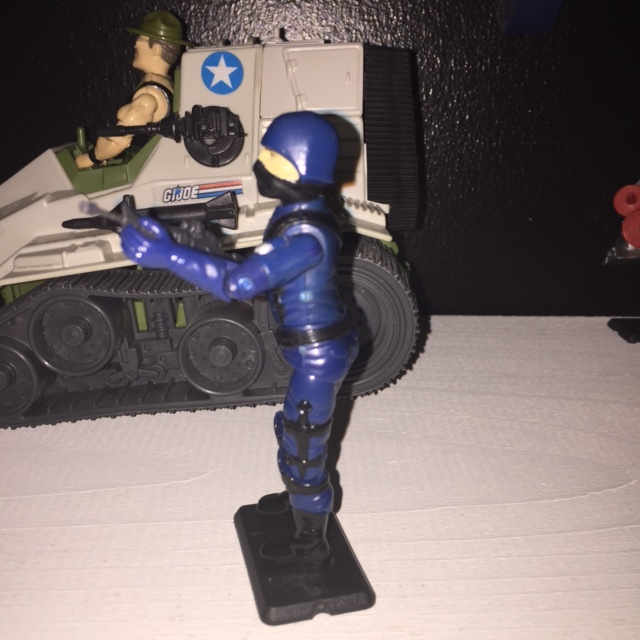 About the only criticism i have for the cobra trooper is that i wish they would have painted on black gloves instead of the totally blue arms.  besides that, i like the simplicity of the figure.