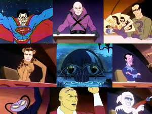 In Later seasons the super friends' arch RIVALS teamed up as the legion of doom.  the counter part to the hall of justice was essentially a darth vader helmet in a swamp.  clockwise:  Bizarro, Lex Luthor, the Riddler, Sinestro, captain cold, brainiac, black manta, and CHEETAH.  In the last seasons darkseid and his minons would become rivials of the super friends.