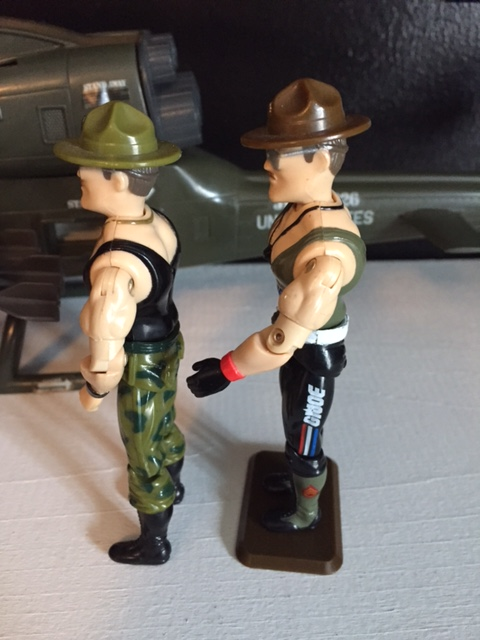 the sgt. slaughter action figure was NOTICEABLY taller and had more muscular arms that any other G.I. Joe figure up to that point.  his campaign hat even added more height to his already elongated frame.