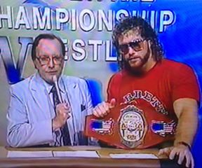 Gordon solie with brad armstrong and the continental title belt.