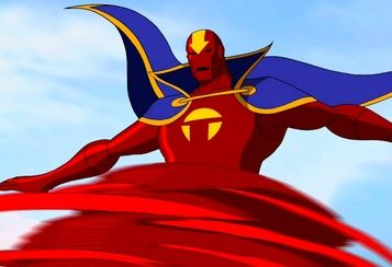 Red tornado as he appears in the young justice animated series
