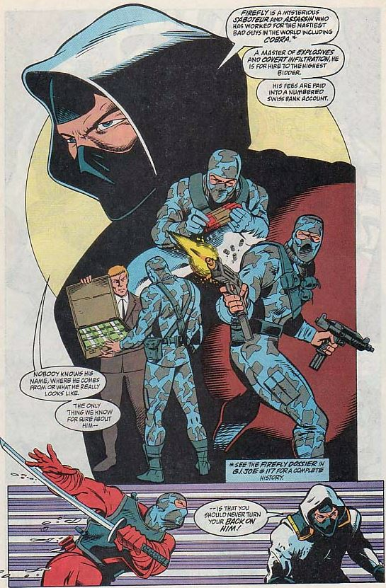 Storm shadow explains who firefly is right before his regretable costume change.