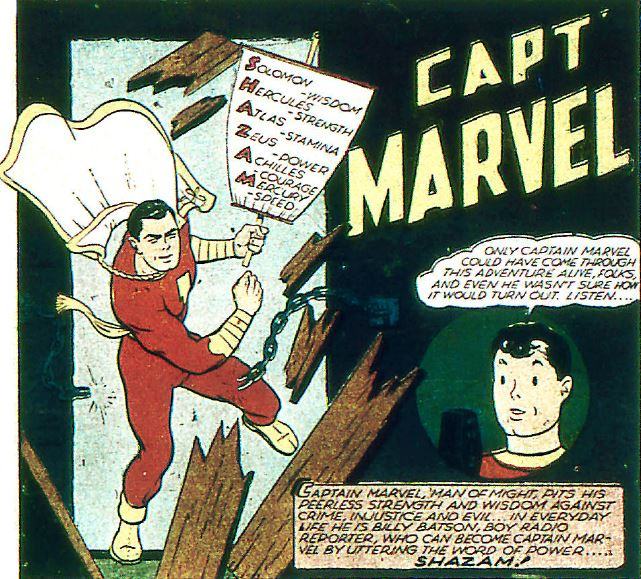 an early captain marvel comic describes the sources of his powers.