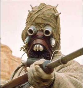 one of the menacing sand people (or tuskan raiders) from the original Star wars movie.
