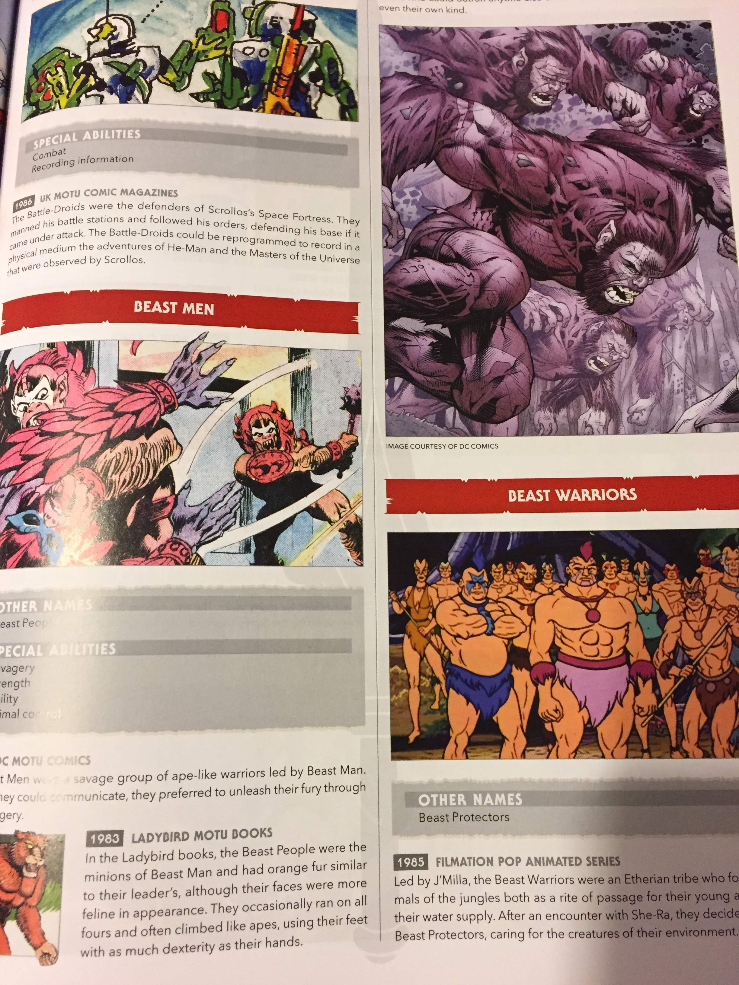 In addition to the individual characters like Beastman there is also a section for groups and factions when applicable.