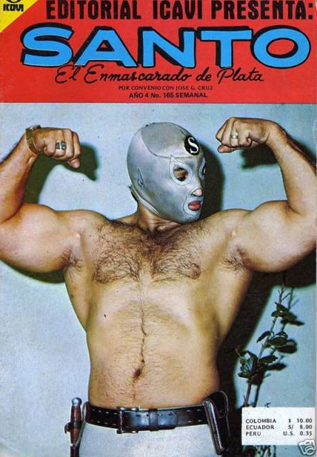 "El Santo had his own comic.  In this photo he wore a leather belt with a knife, a ""S"" symbol added to his mask... and oh yeah, that isn't the real El Santo."