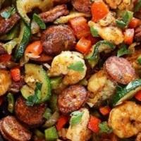 Low carb shrimp and sausage skillet.JPG