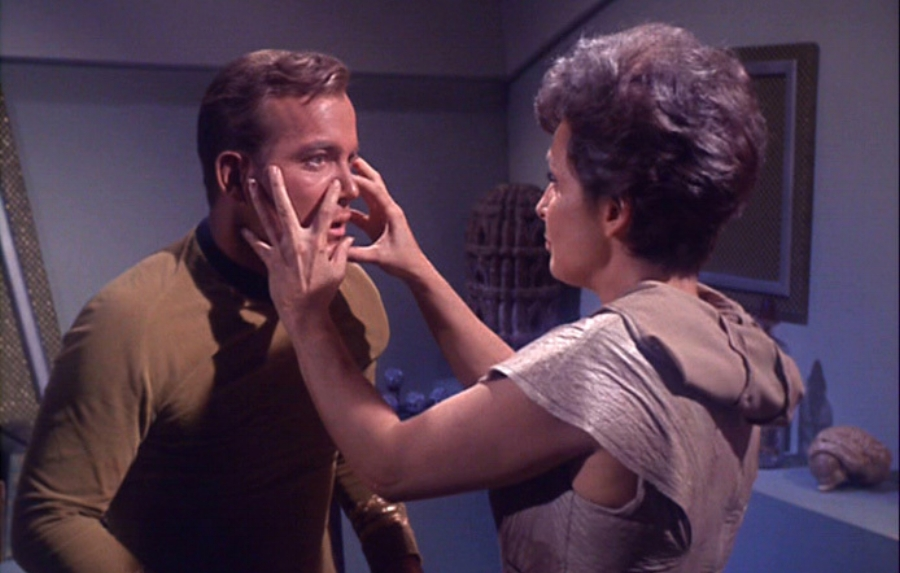 Captain Kirk is about to be drained of his body salt by nancy/Creature in Star Trek episode 1