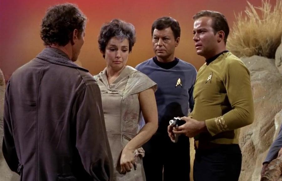 Right to left: Scientist crater, nancy/monster, Dr. McCoy, Captain Kirk.