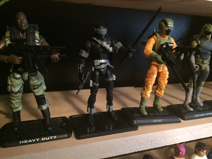 G.I. Joe Heavy Duty (as played by Adewale Akinnuoye-Agbaje) (2009), Snake Eyes (2009), Airtight (2011), Tripwire (2008) from the When It Was Cool collection
