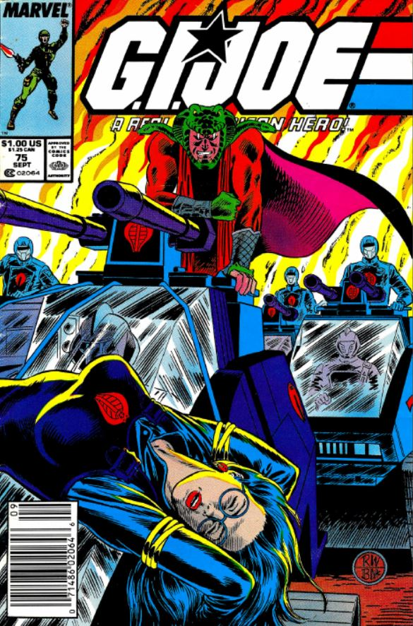 Marvel comics G.I. Joe: A Real American Hero issue 75 featuring serpentor on the cover with a captured baroness (1988) artists rob wagner and bob mcleod