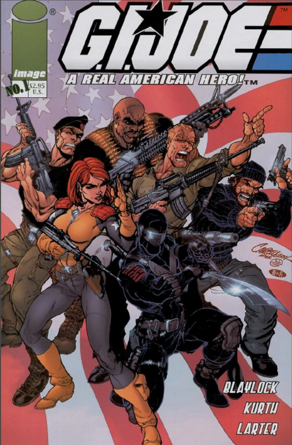 G.I. Joe Image/Devil's Due Press issue 1 (2001) marked a rebirth of the G.I. Joe franchise. Cover featuring Flint, Scarlet, Roadblock, Duke, Shipwreck, and snake eyes in the foreground. (2001)