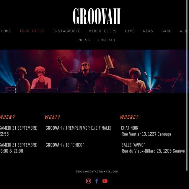 Ce weekend / this weekend / este fin de semana  Check our next tour dates and much more on www.groovah.com