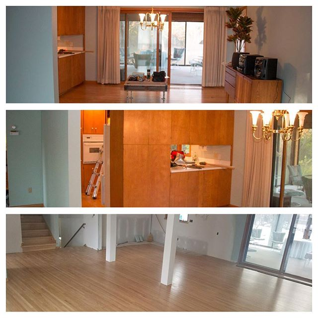 Before and After remodel in progress. Opened the space and refinished beautiful original hardwood floors.