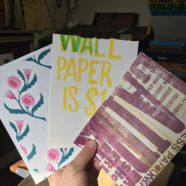 Makeready artifacts from a simpler time when wallpaper was $1 #letterpress