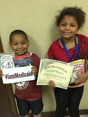 We both have ADHD. Since starting medicine and counseling we now are top readers. Thanks Medicaid! No more trouble at school. #IamMedicaid