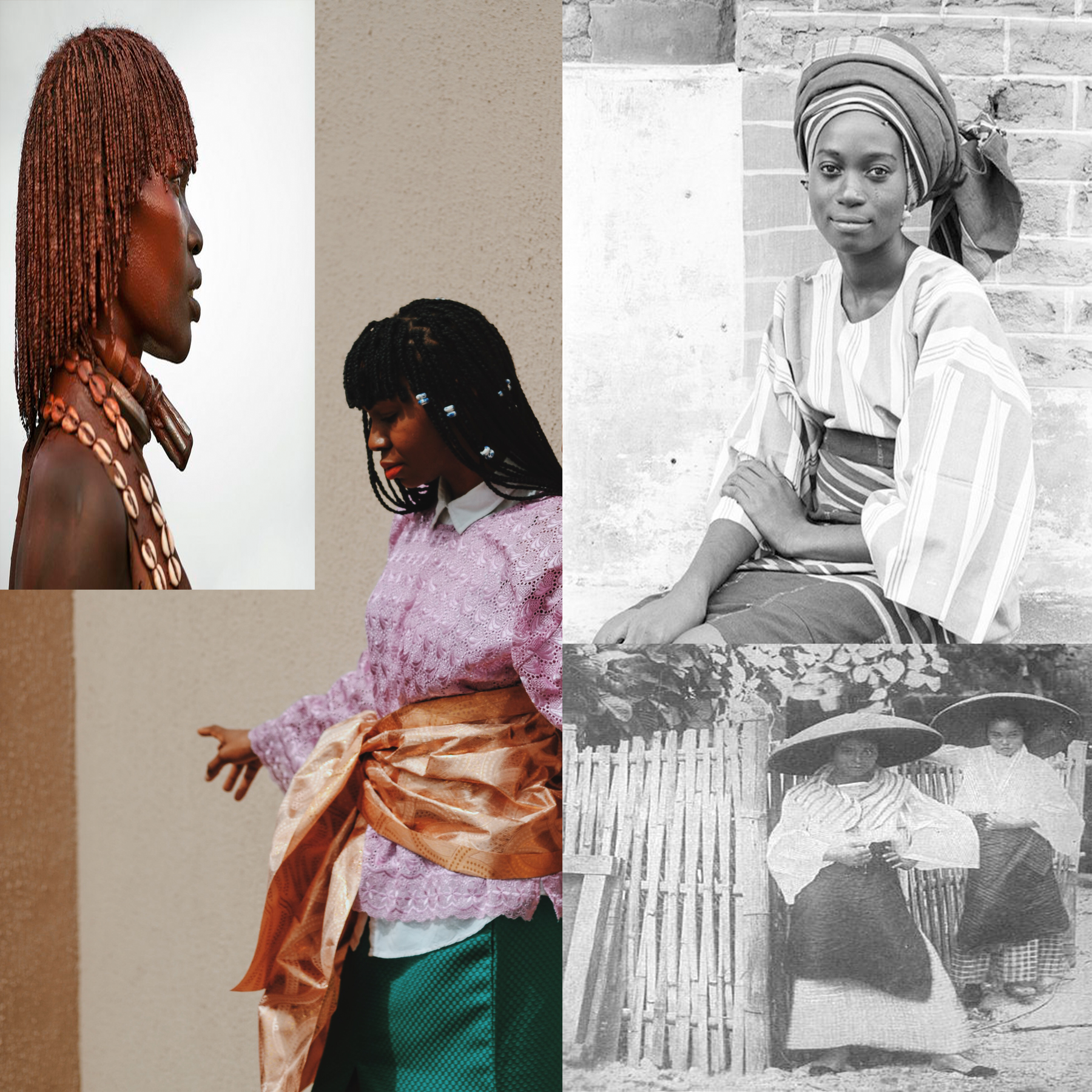 Inspired by these images Buba ( top right by Eliot Elisofon Lagos, Nigeria)which is a style of blouse accustomed to the Yorubas of western Nigeria. Bottom right- Old Philippines Womens fashion. Ph. unknown. Top left-my braid inspiration from the Hamer people of ethiopia,