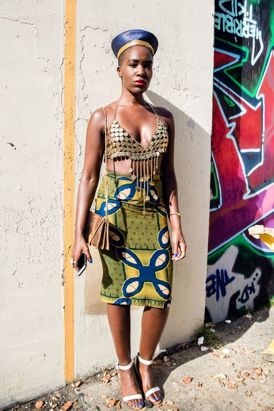 Zulu hat + Snake Skin + Ankara + metallic bralet = Queen  Rockie Nolan for Refinery 29  Check her out here  erykahachebe