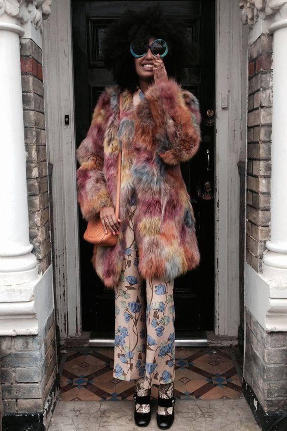 Julia Sarr Jamois with the furry coat
