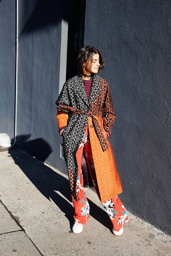 Leandra Medine founder of the Manrepeller Gives the printed coat for fall style