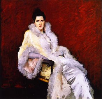 """Lady in Opera Cloak"" by William Merritt Chase"