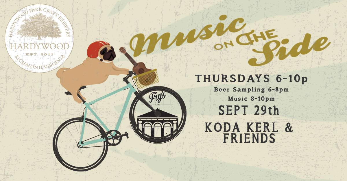 """Party on the Patio! Thursday, Sept 29th with Koda Kerl & Friends (of Chamomile & Whiskey)!    Hardywood will be sampling refreshing summer brews starting at 6:00pm. Music starts at 8:00pm. It's gorgeous weather for a party on the patio! September's """"Music on The Side"""" features our friends   Hardywood Park Craft Brewery  all month!    Join us on the patios every Thursday night in September. Music on the Side is a music series and brewery residency at Fry's Spring Station, featuring a careful selection of the best local music and beverage craft."""