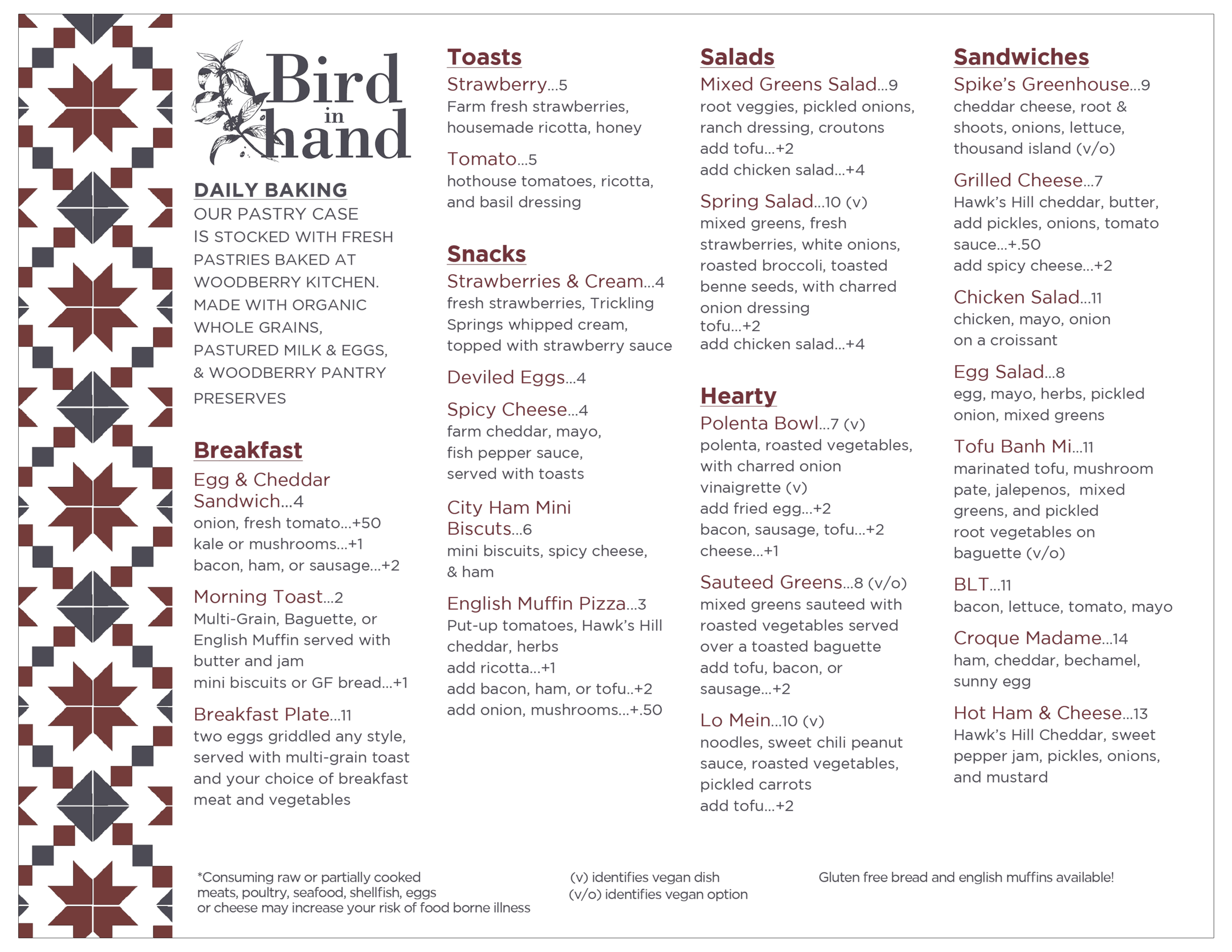 Bird In Hand Menu