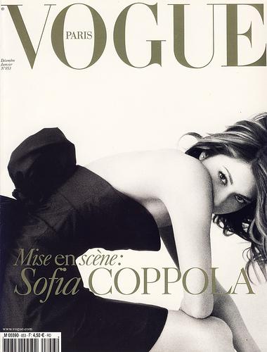 Sophia Coppola by Mario Testino on the cover of Vogue Paris, December 2004