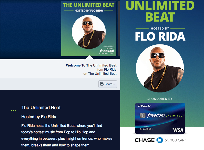 CHASE unlimited beat station  Display copy for custom mix station hosted by artist Flo Rida.