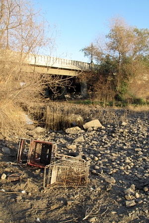 In Porterville, the Tule River runs completely dry.