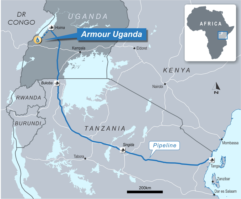 blue line showing the route for east african crude oil pipeline (eacop) currently in development
