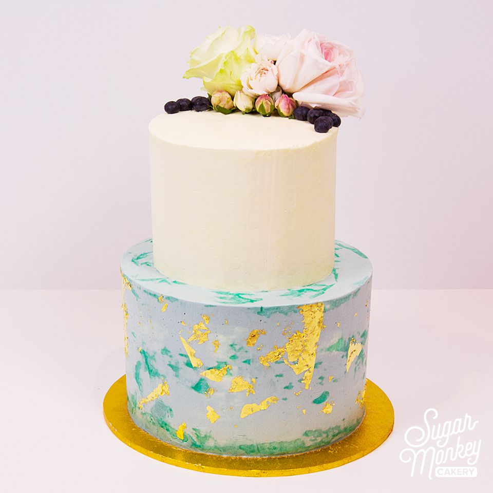 Two tiered moist chocolate birthday cake
