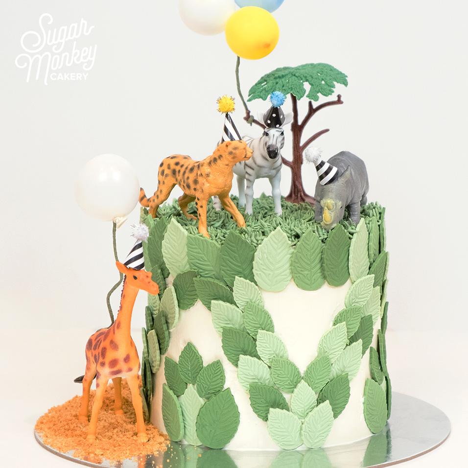 Jungle animal party birthday cake
