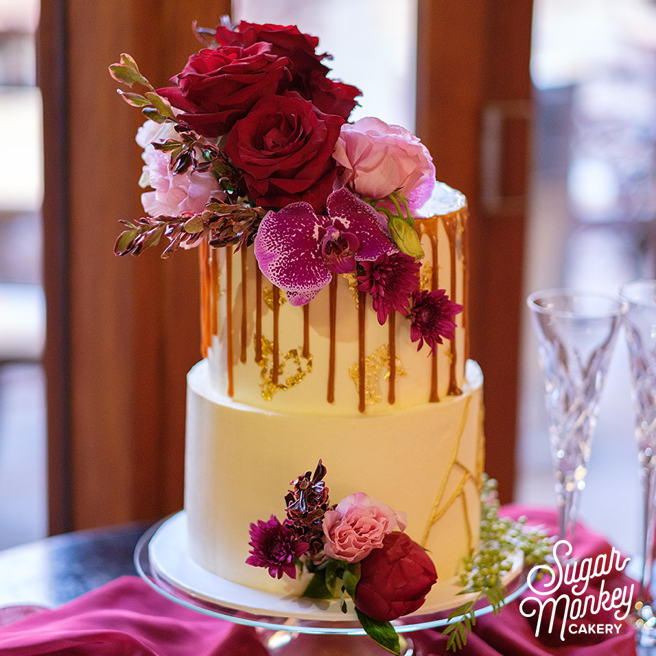 Two tiered red velvet wedding cake