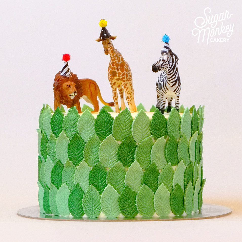 Animal party covered with fondant leaves